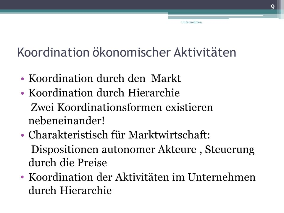 Koordination ökonomischer Aktivitäten