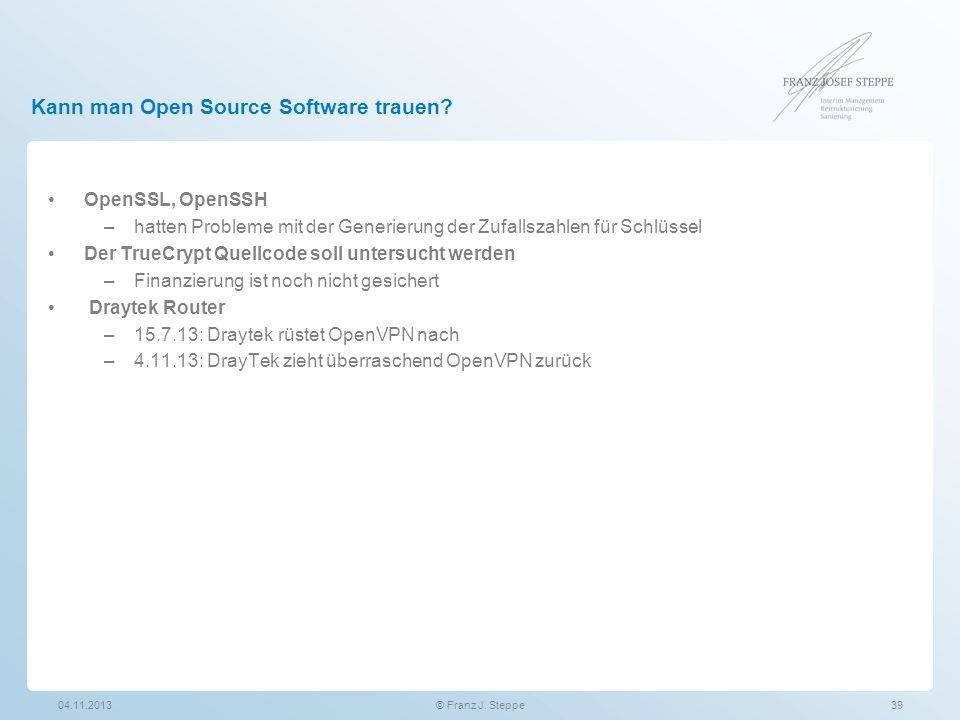 Kann man Open Source Software trauen