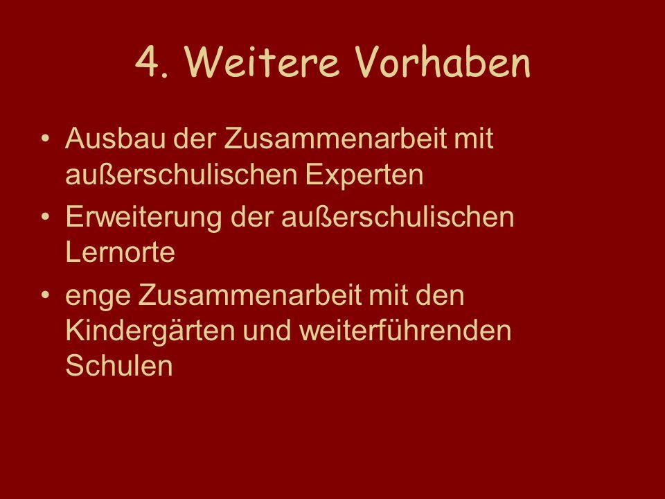 4. Weitere Vorhaben Ausbau der Zusammenarbeit mit außerschulischen Experten. Erweiterung der außerschulischen Lernorte.