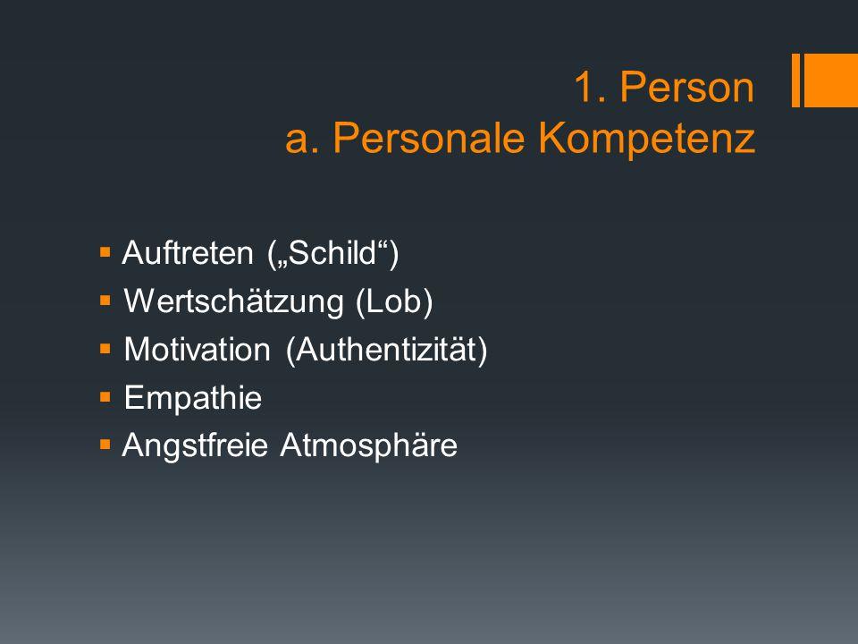 1. Person a. Personale Kompetenz
