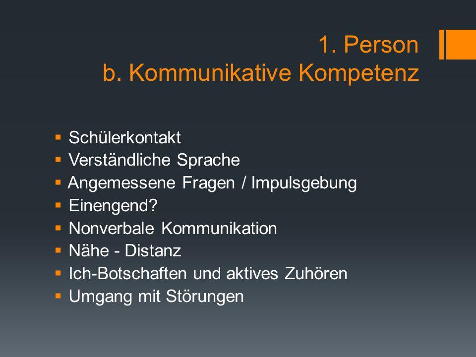 1. Person b. Kommunikative Kompetenz