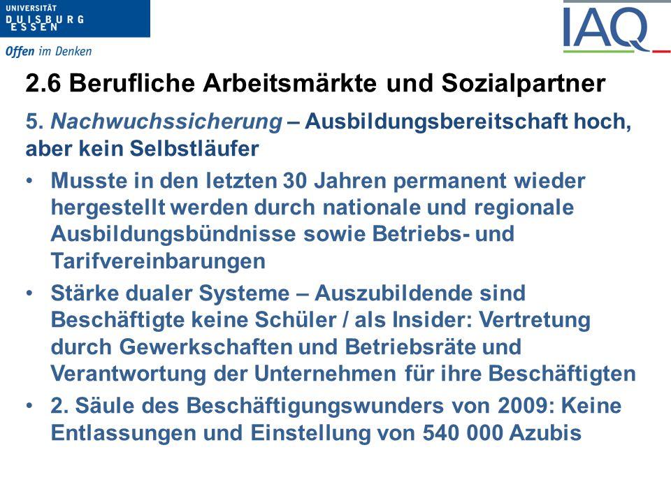2.6 Berufliche Arbeitsmärkte und Sozialpartner