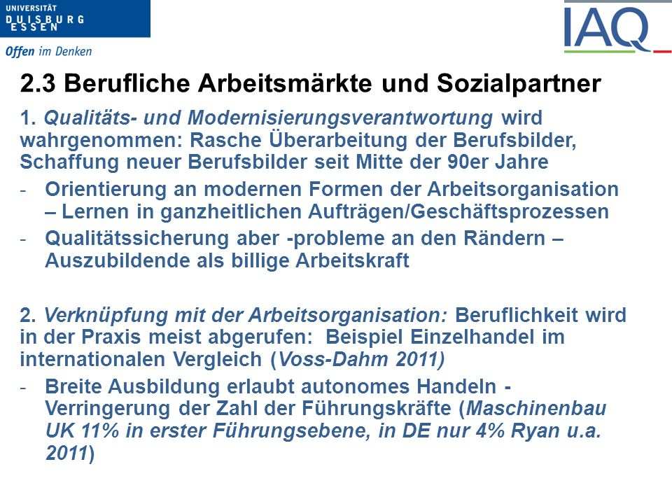 2.3 Berufliche Arbeitsmärkte und Sozialpartner