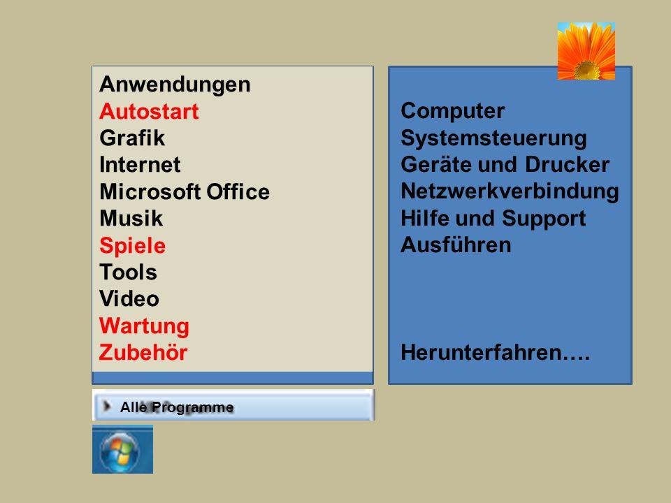 Anwendungen Autostart Grafik Computer Internet Systemsteuerung
