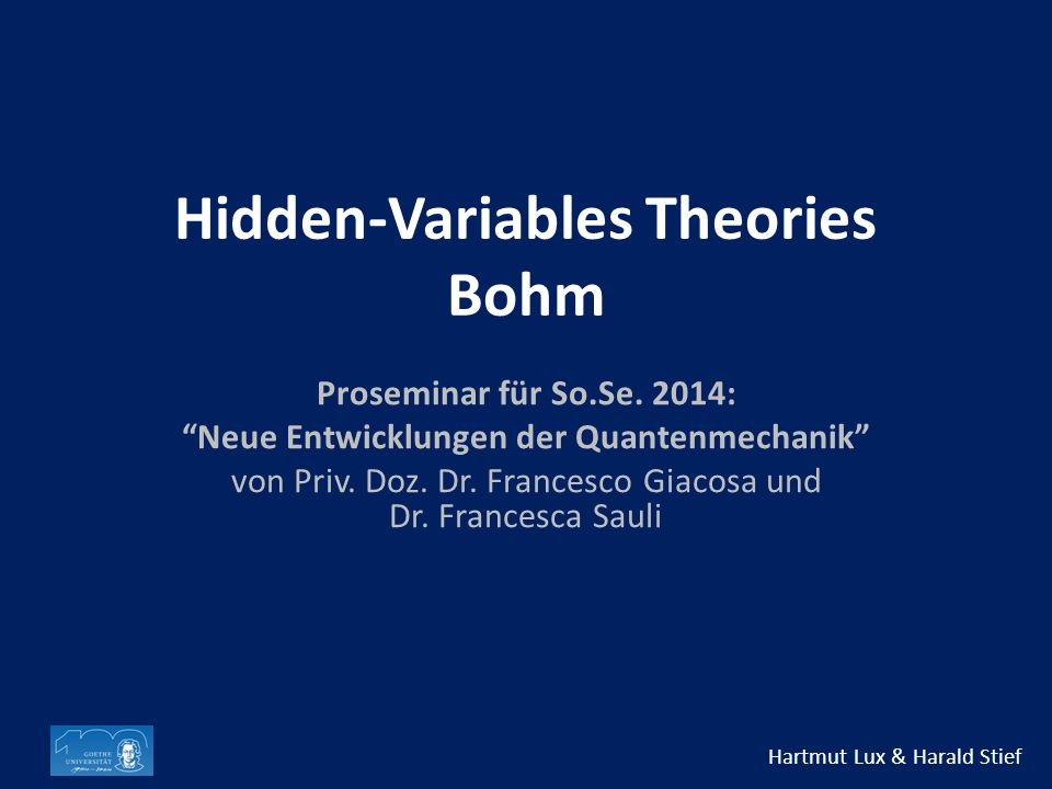 Hidden-Variables Theories Bohm