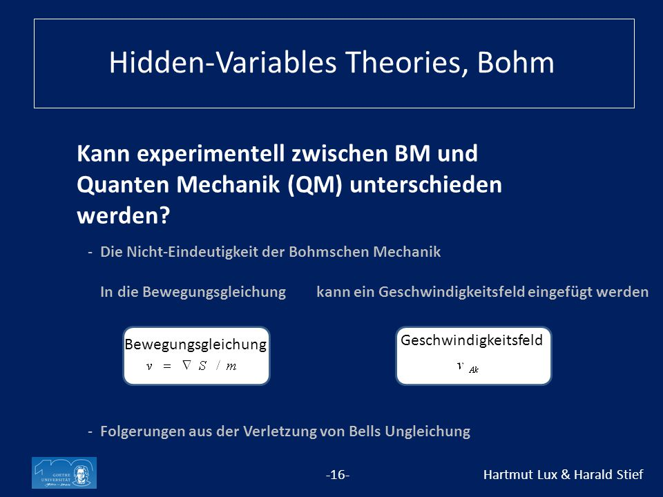 Hidden-Variables Theories, Bohm