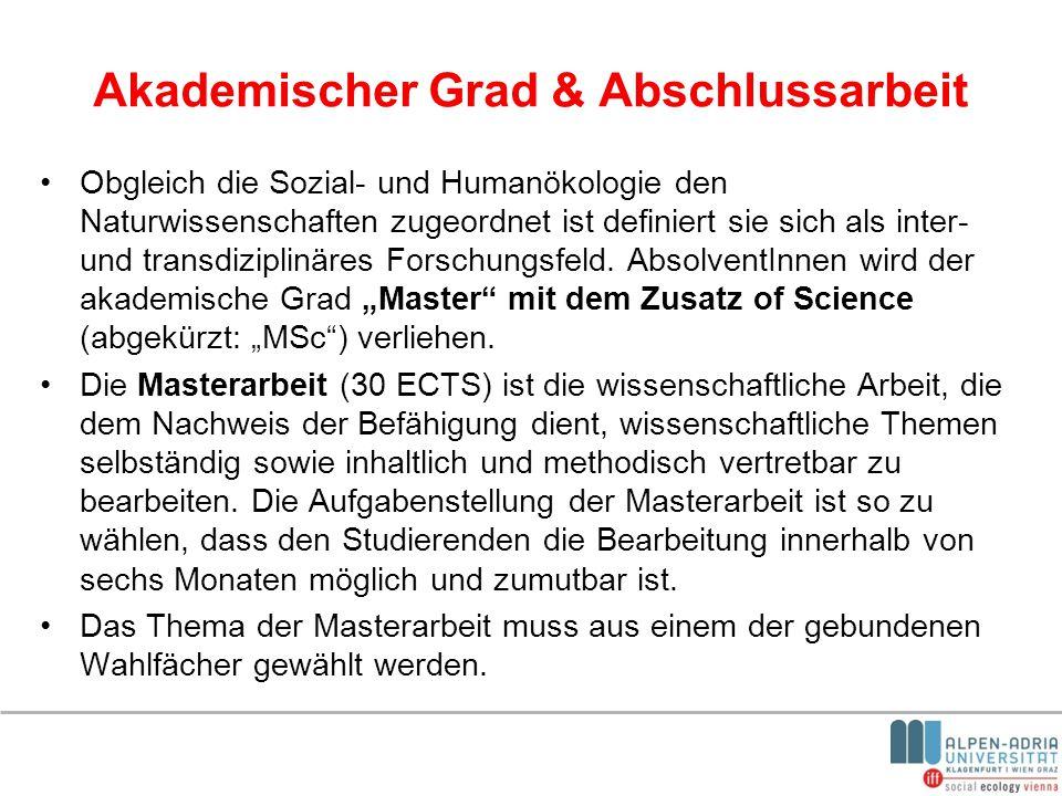 Akademischer Grad & Abschlussarbeit