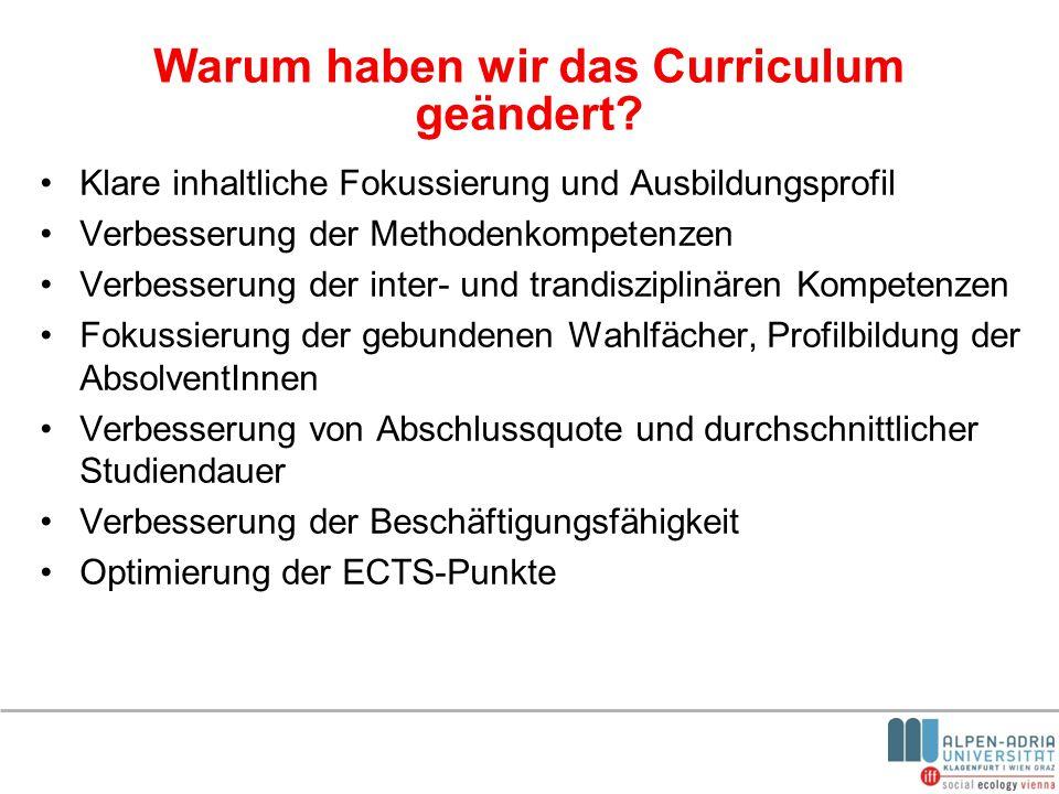 Warum haben wir das Curriculum geändert