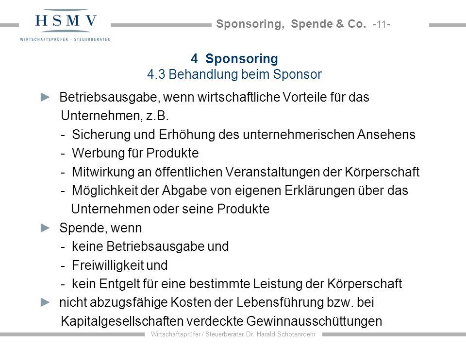 4 Sponsoring 4.3 Behandlung beim Sponsor