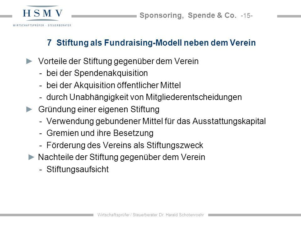7 Stiftung als Fundraising-Modell neben dem Verein