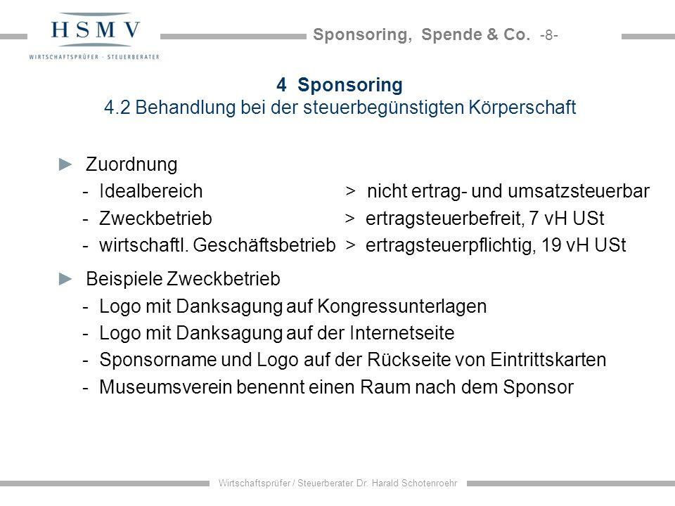 4 Sponsoring 4.2 Behandlung bei der steuerbegünstigten Körperschaft