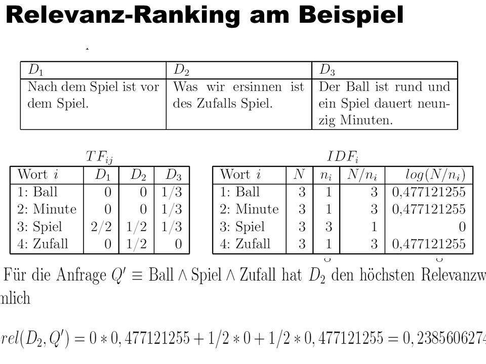 Relevanz-Ranking am Beispiel