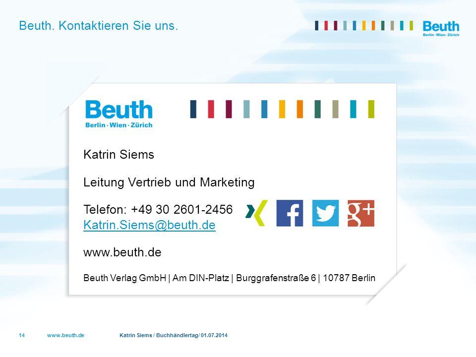 Beuth. Kontaktieren Sie uns.
