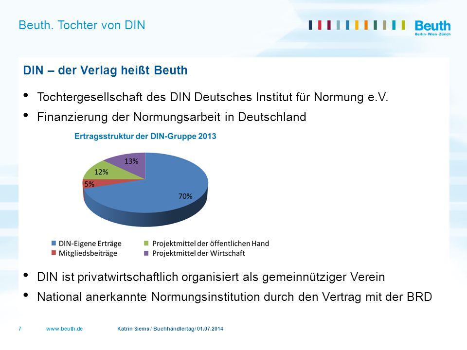 Beuth. Tochter von DIN DIN – der Verlag heißt Beuth. Tochtergesellschaft des DIN Deutsches Institut für Normung e.V.