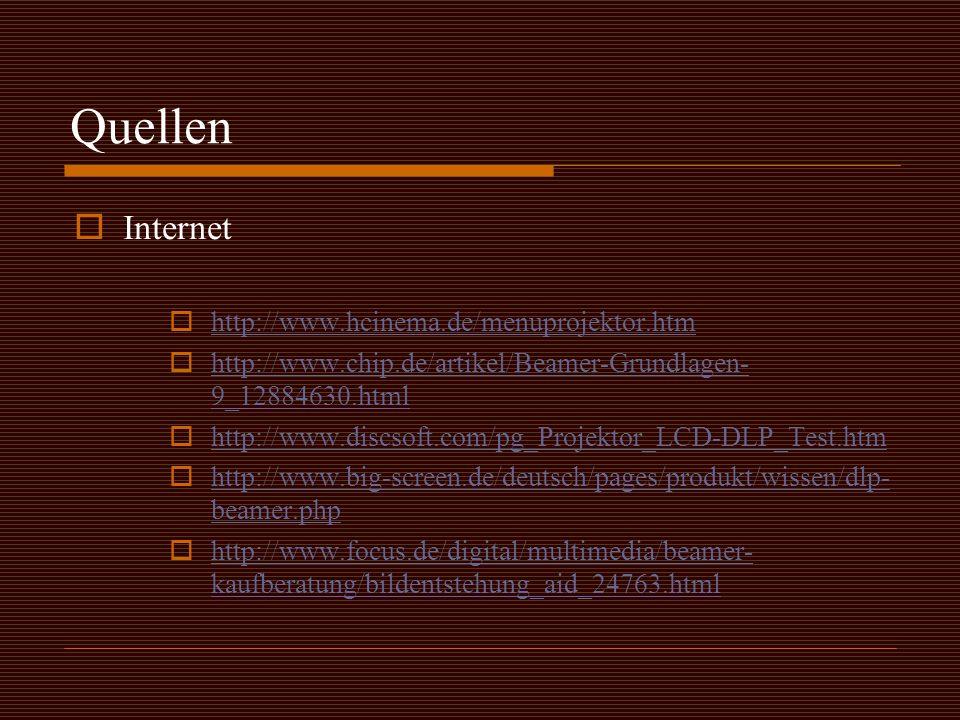 Quellen Internet http://www.hcinema.de/menuprojektor.htm
