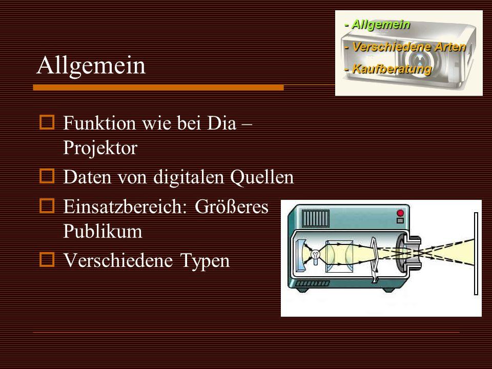 Allgemein Funktion wie bei Dia – Projektor Daten von digitalen Quellen