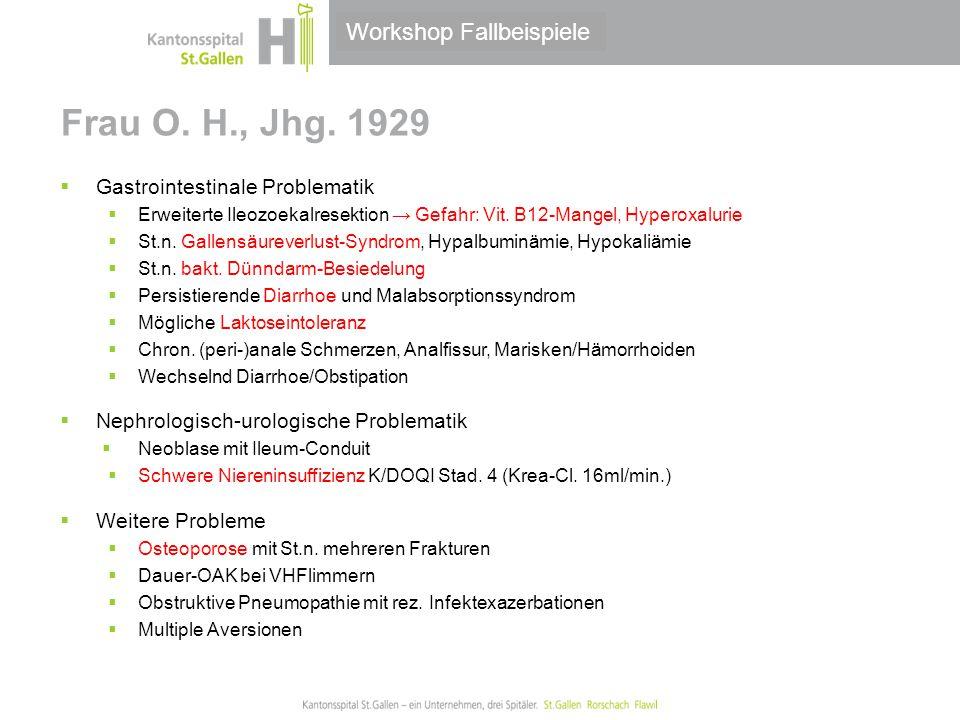 Frau O. H., Jhg. 1929 Workshop Fallbeispiele