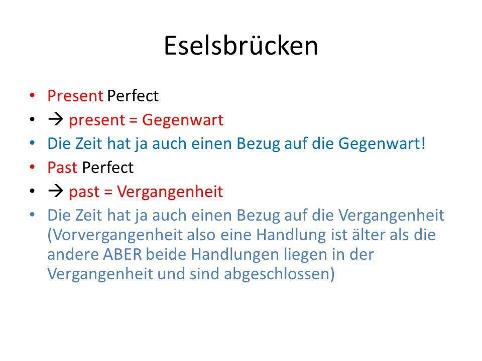 Eselsbrücken Present Perfect  present = Gegenwart