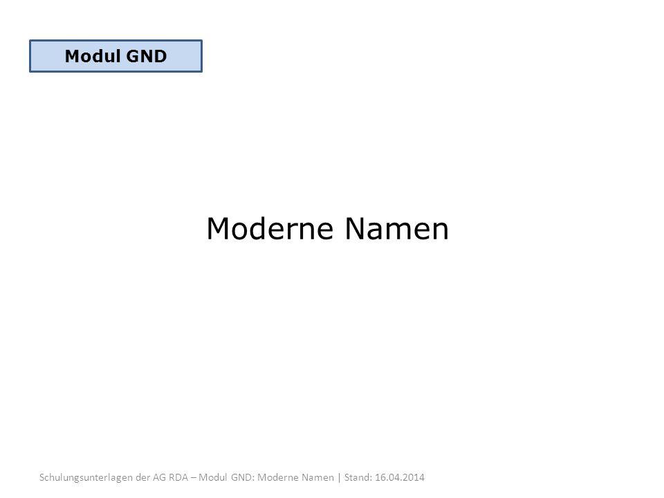 Moderne Namen Modul GND