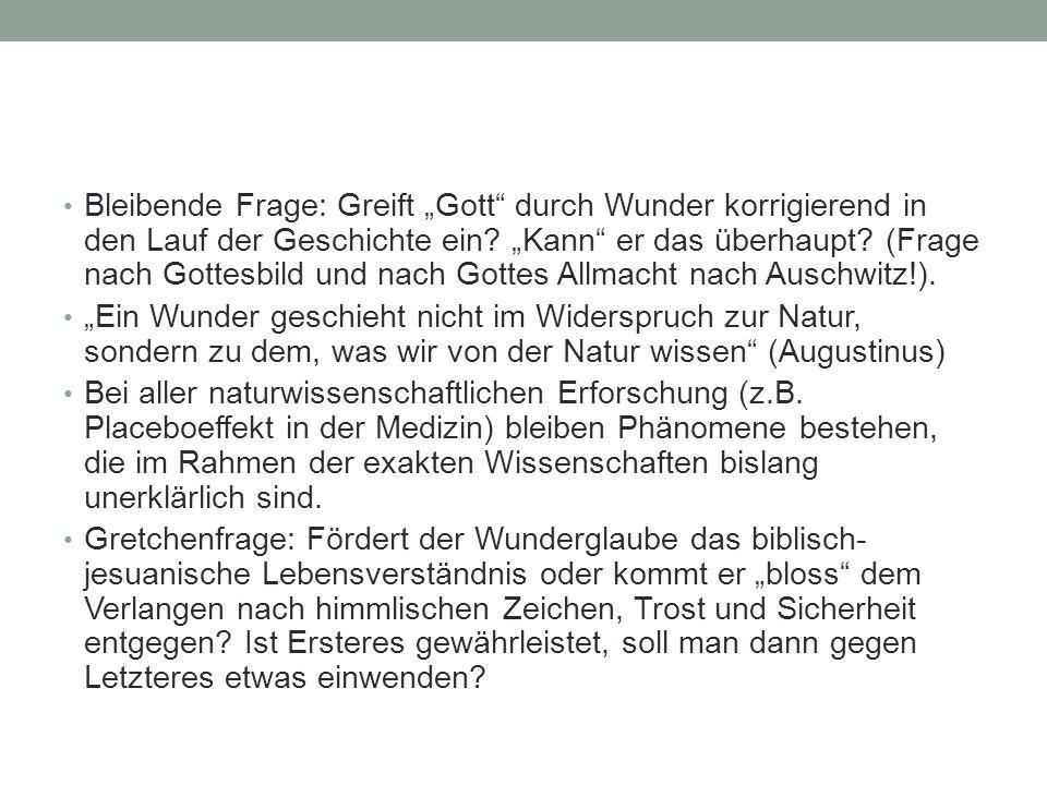 """Bleibende Frage: Greift """"Gott durch Wunder korrigierend in den Lauf der Geschichte ein """"Kann er das überhaupt (Frage nach Gottesbild und nach Gottes Allmacht nach Auschwitz!)."""