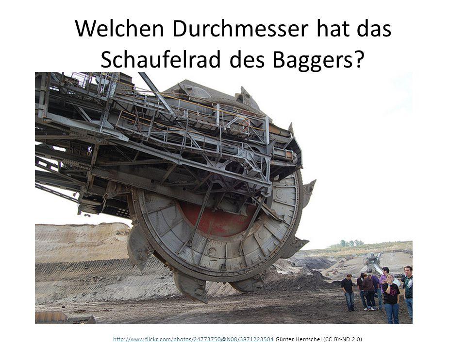 Welchen Durchmesser hat das Schaufelrad des Baggers