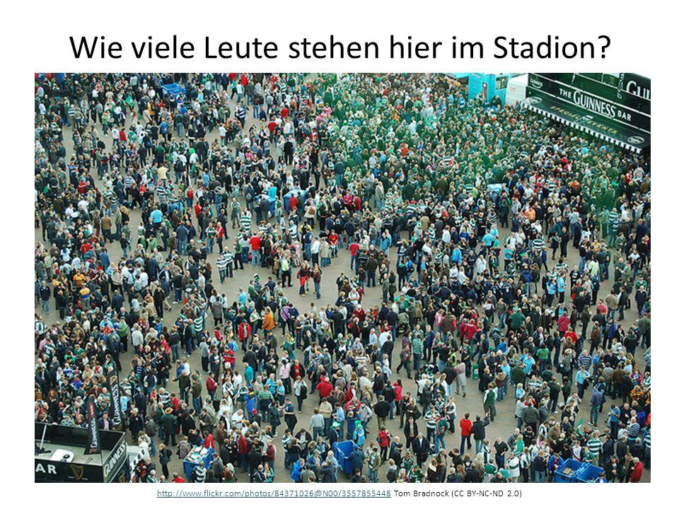 Wie viele Leute stehen hier im Stadion
