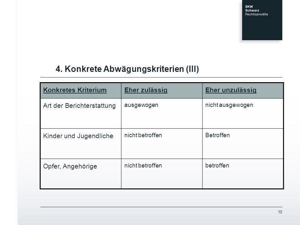 4. Konkrete Abwägungskriterien (III)