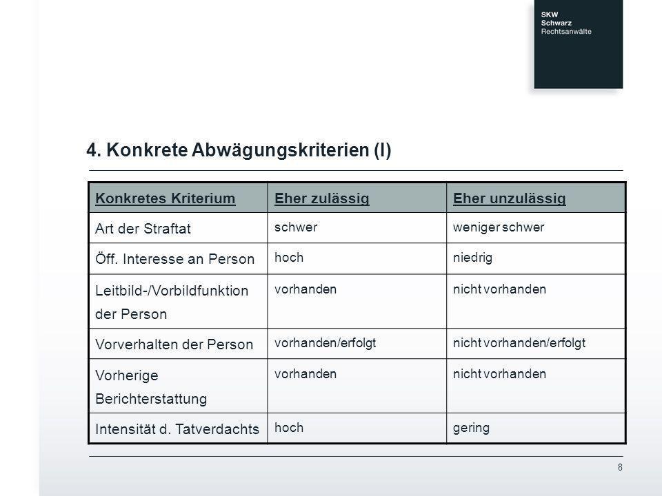 4. Konkrete Abwägungskriterien (I)