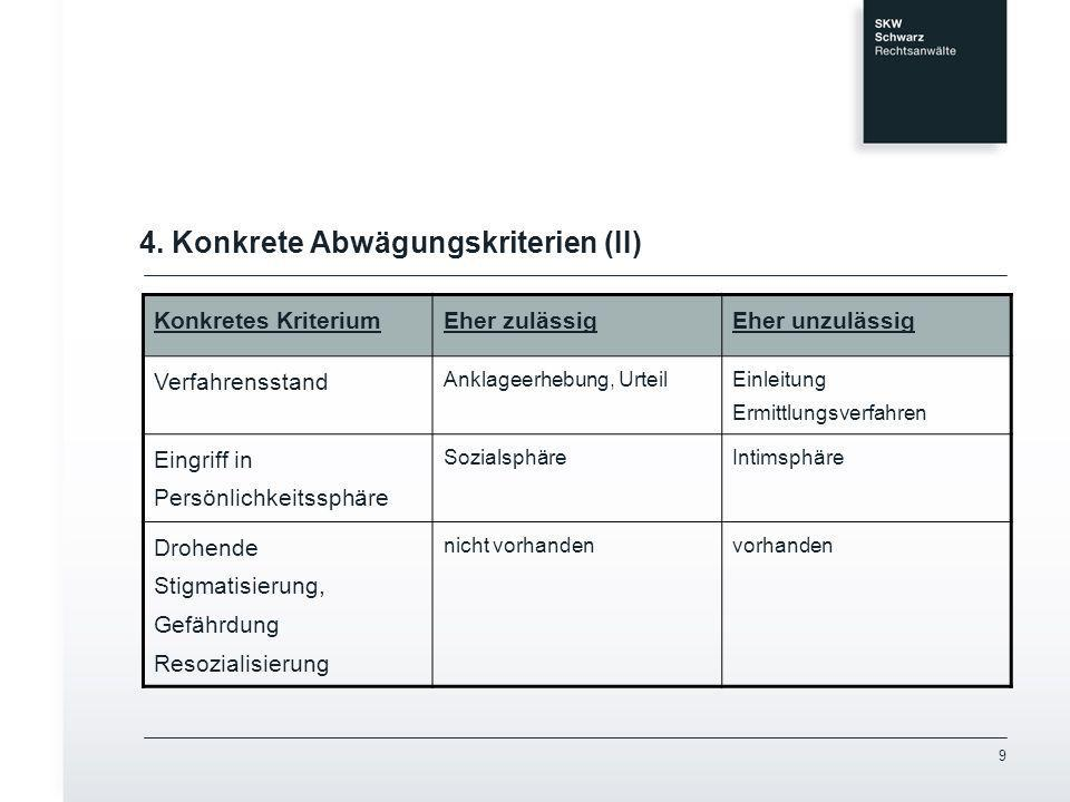4. Konkrete Abwägungskriterien (II)