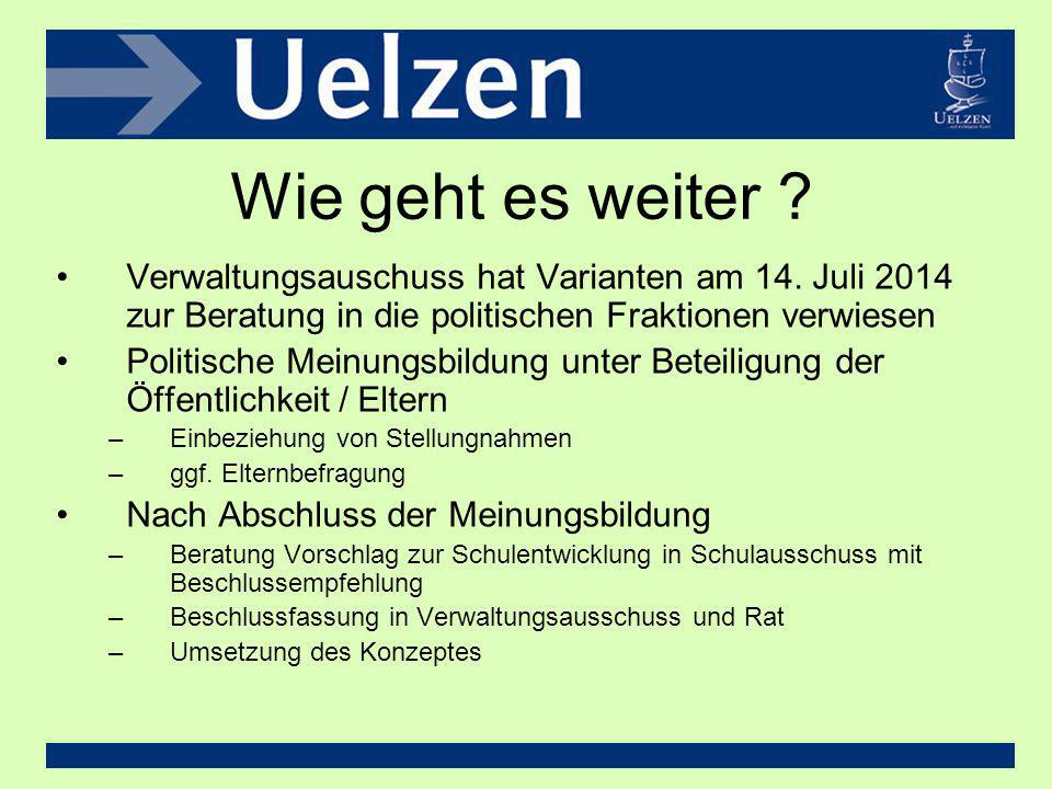 Wie geht es weiter Verwaltungsauschuss hat Varianten am 14. Juli 2014 zur Beratung in die politischen Fraktionen verwiesen.