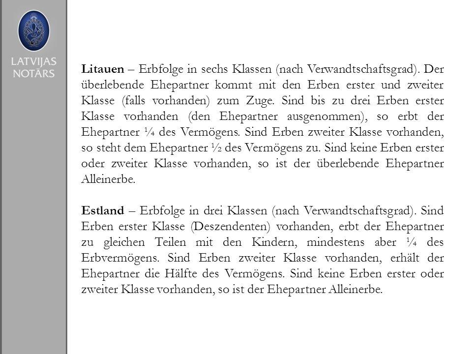 Litauen – Erbfolge in sechs Klassen (nach Verwandtschaftsgrad)