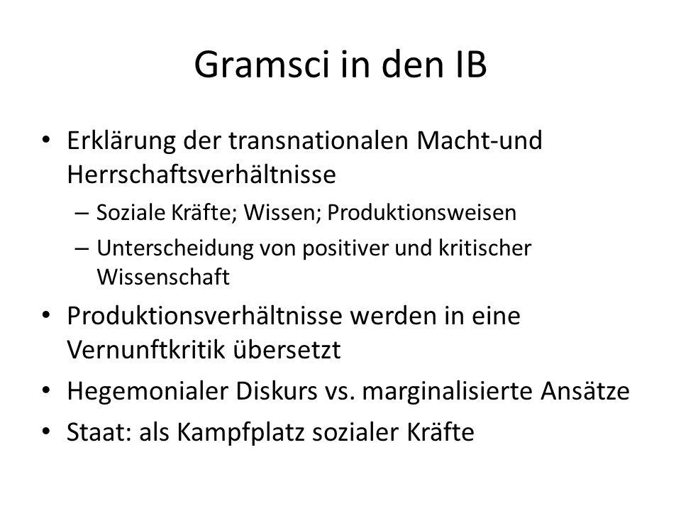 Gramsci in den IB Erklärung der transnationalen Macht-und Herrschaftsverhältnisse. Soziale Kräfte; Wissen; Produktionsweisen.