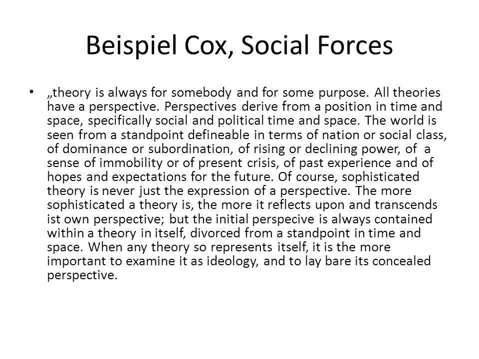 Beispiel Cox, Social Forces
