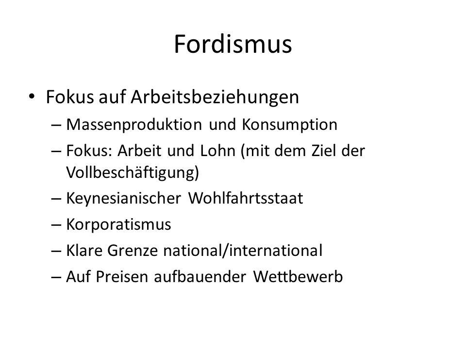 Fordismus Fokus auf Arbeitsbeziehungen