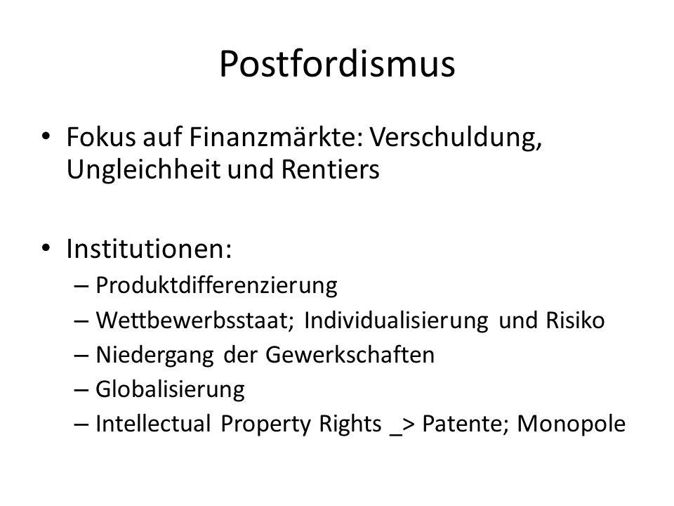 Postfordismus Fokus auf Finanzmärkte: Verschuldung, Ungleichheit und Rentiers. Institutionen: Produktdifferenzierung.