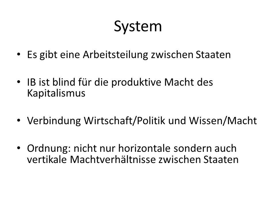System Es gibt eine Arbeitsteilung zwischen Staaten