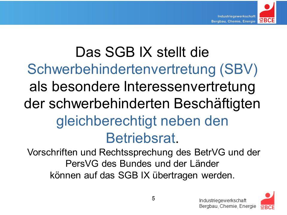 Das SGB IX stellt die Schwerbehindertenvertretung (SBV) als besondere Interessenvertretung der schwerbehinderten Beschäftigten gleichberechtigt neben den Betriebsrat.