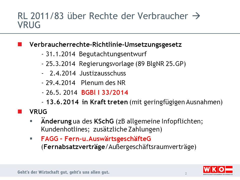 RL 2011/83 über Rechte der Verbraucher  VRUG