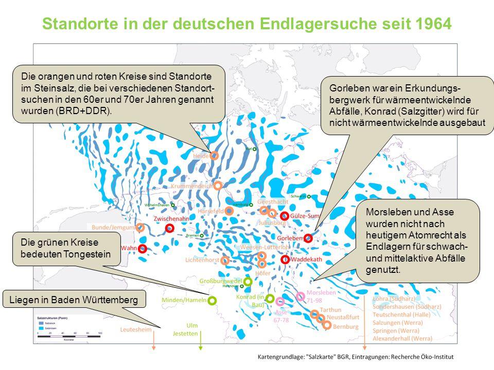 Standorte in der deutschen Endlagersuche seit 1964
