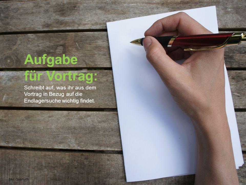 Aufgabe für Vortrag: Schreibt auf, was ihr aus dem Vortrag in Bezug auf die Endlagersuche wichtig findet.