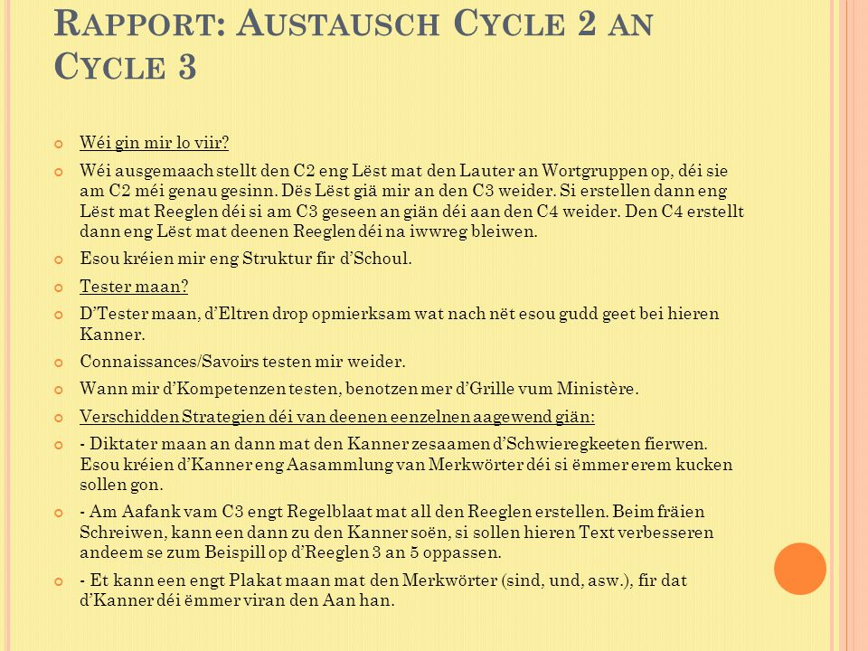 Rapport: Austausch Cycle 2 an Cycle 3