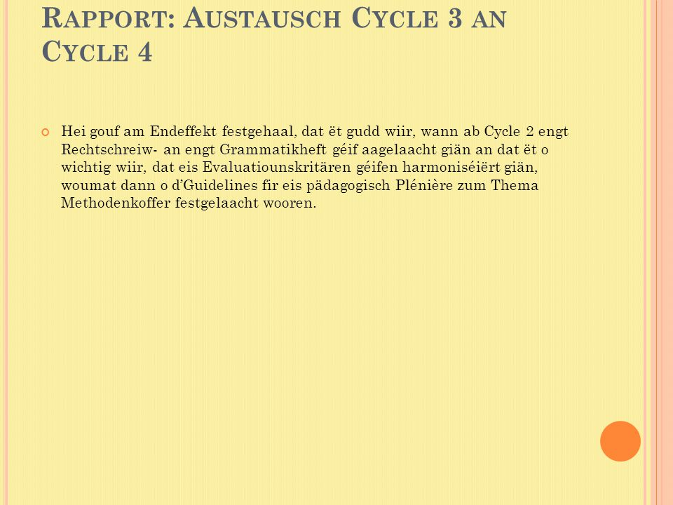 Rapport: Austausch Cycle 3 an Cycle 4