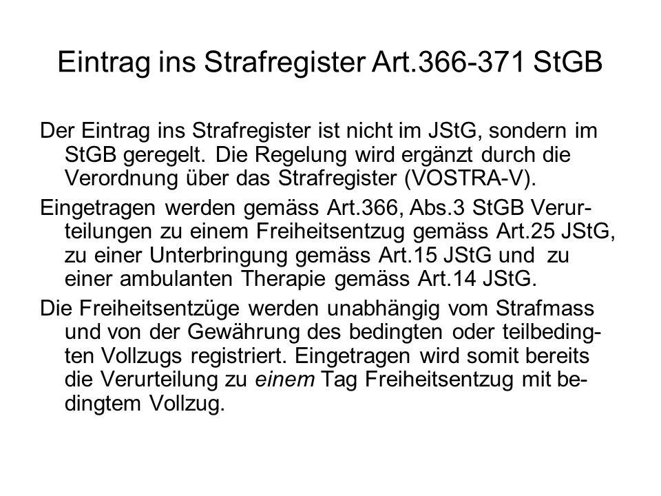 Eintrag ins Strafregister Art.366-371 StGB