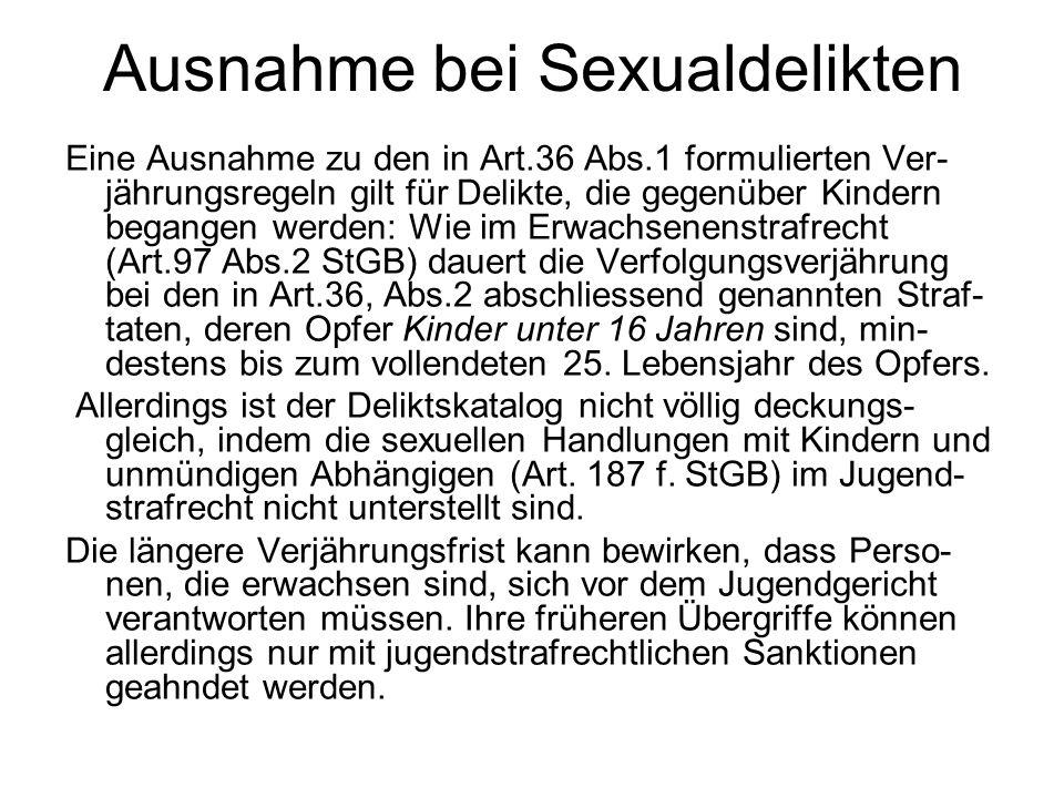Ausnahme bei Sexualdelikten