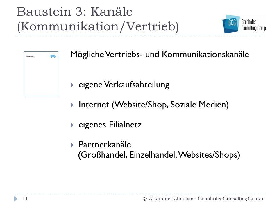 Baustein 3: Kanäle (Kommunikation/Vertrieb)