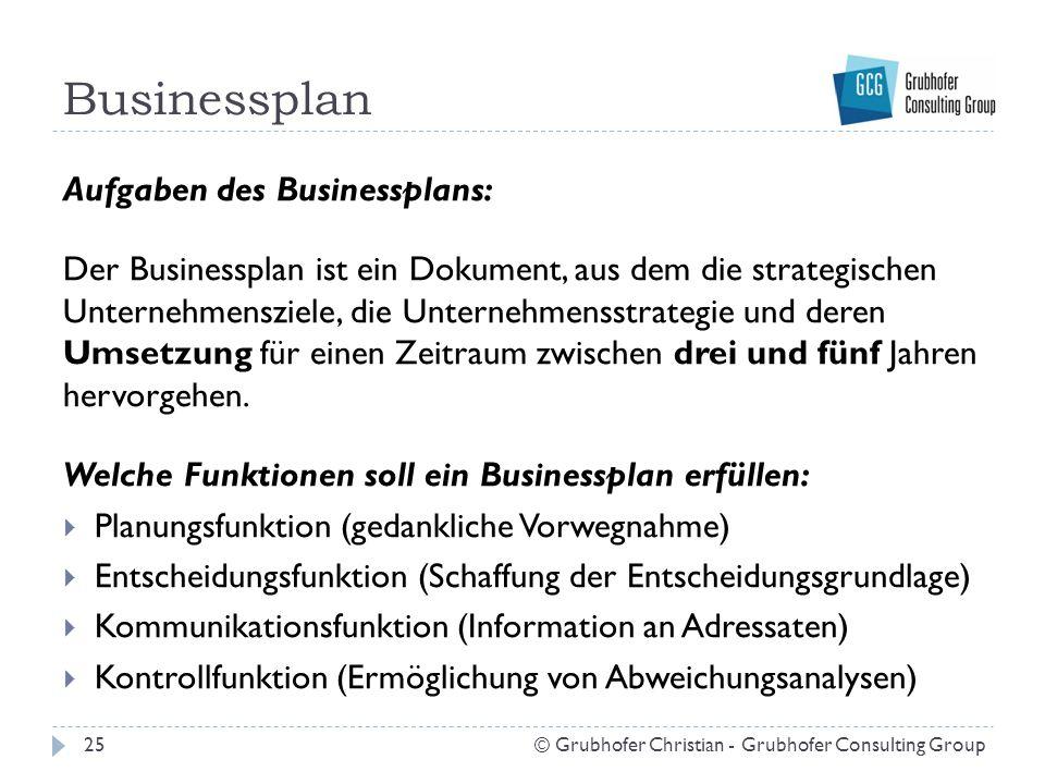 Businessplan Aufgaben des Businessplans: