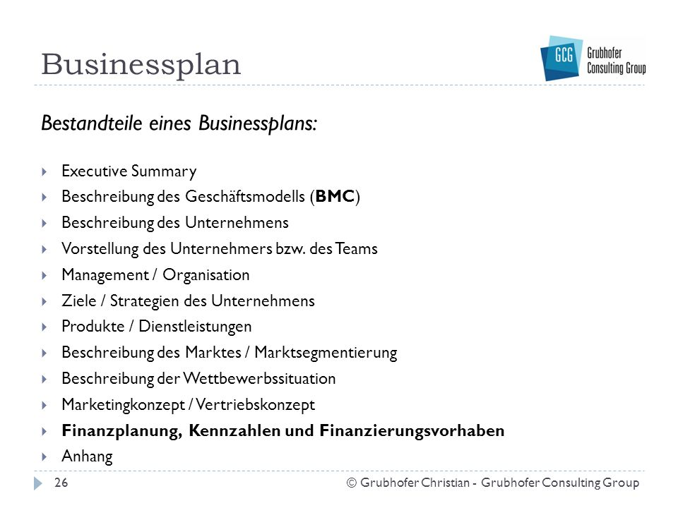 Businessplan Bestandteile eines Businessplans: Executive Summary