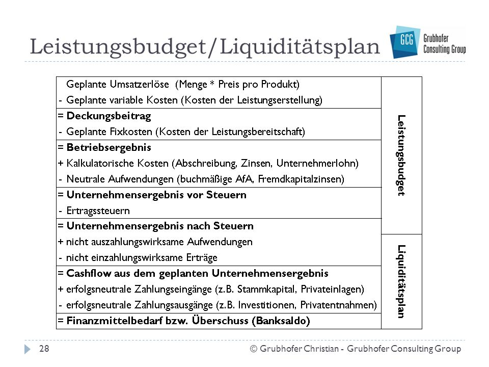 Leistungsbudget/Liquiditätsplan