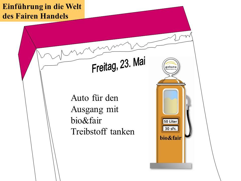 Auto für den Ausgang mit bio&fair Treibstoff tanken