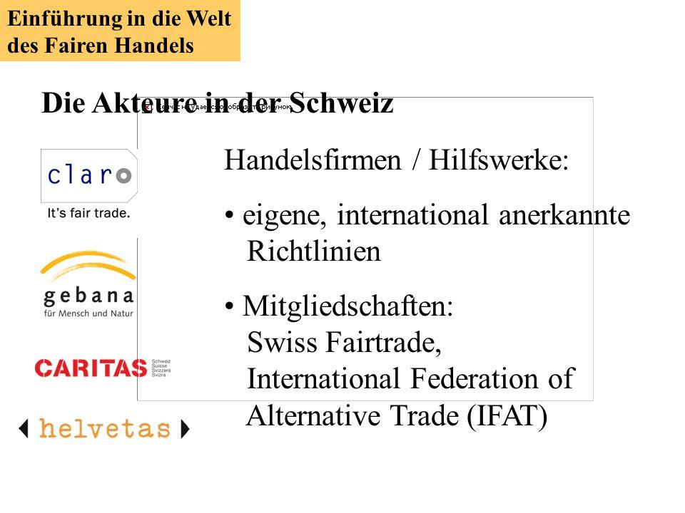Die Akteure in der Schweiz